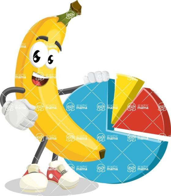Cute Banana Cartoon Vector Character AKA Banana Peelstrong - With a Business Pie Chart
