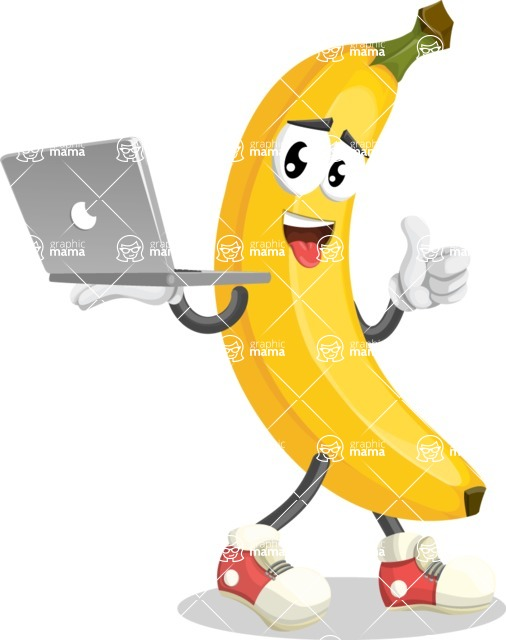 Cute Banana Cartoon Vector Character AKA Banana Peelstrong - With a Laptop
