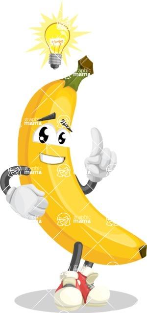 Cute Banana Cartoon Vector Character AKA Banana Peelstrong - With a Light Bulb