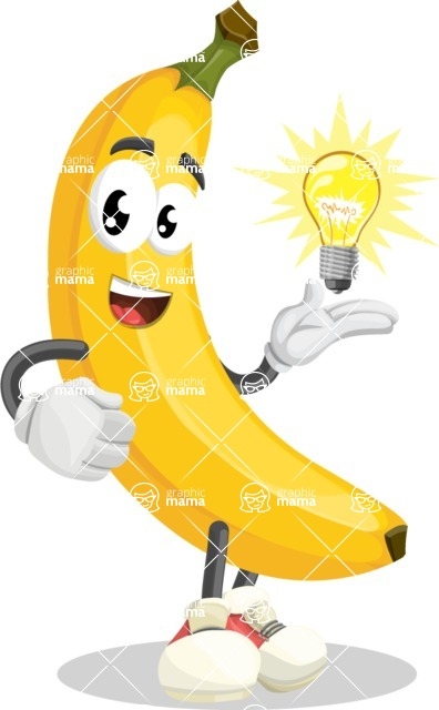 Cute Banana Cartoon Vector Character AKA Banana Peelstrong - with an Idea