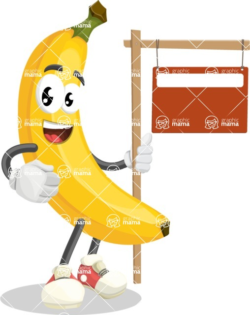 Cute Banana Cartoon Vector Character AKA Banana Peelstrong - With Blank Real Estate Sign