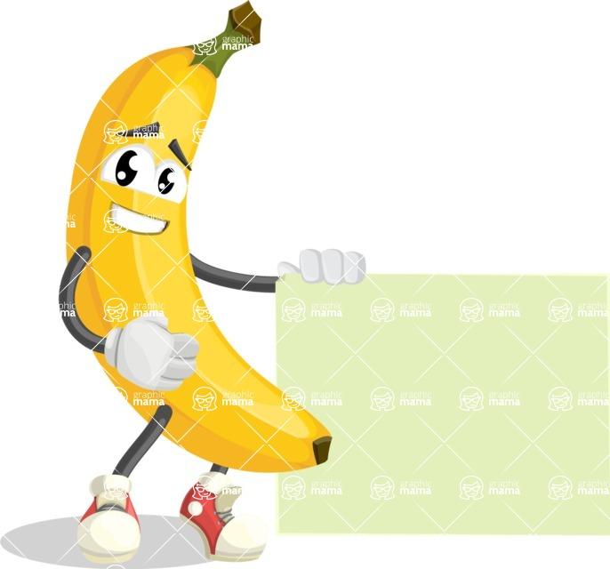 Cute Banana Cartoon Vector Character AKA Banana Peelstrong - With Blank Sign Template
