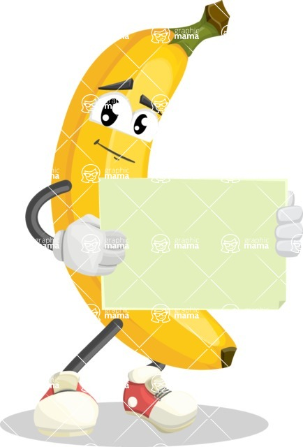 Cute Banana Cartoon Vector Character AKA Banana Peelstrong - With Blank Sign