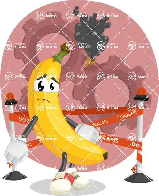 Cute Banana Cartoon Vector Character AKA Banana Peelstrong - With Danger Sign illustration