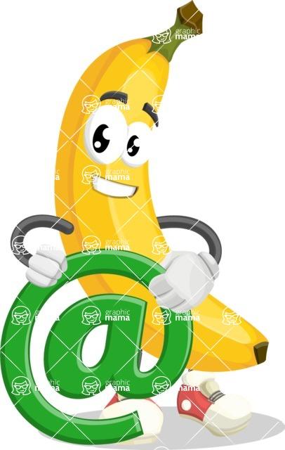 Cute Banana Cartoon Vector Character AKA Banana Peelstrong - With Email Sign - Web