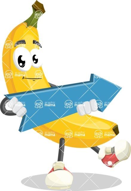 Cute Banana Cartoon Vector Character AKA Banana Peelstrong - with Forward Arrow
