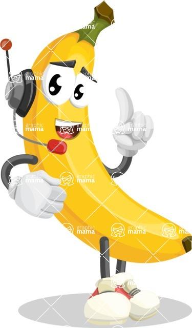 Cute Banana Cartoon Vector Character AKA Banana Peelstrong - With Headphones