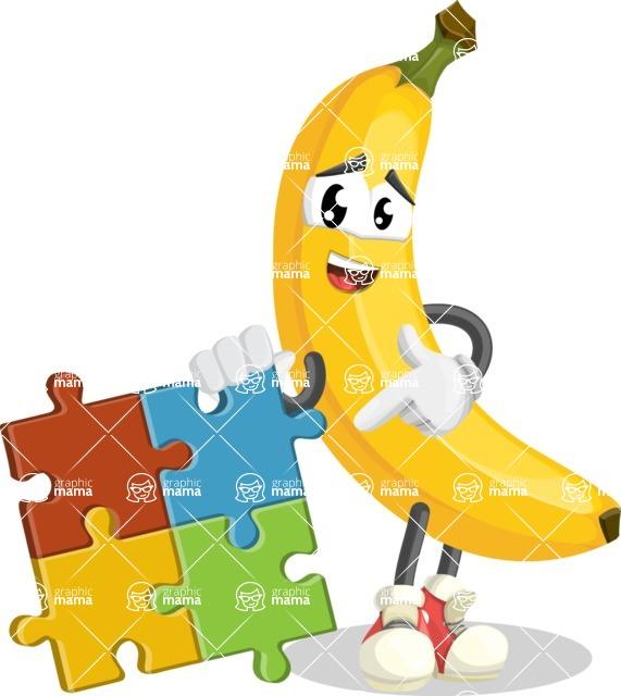 Cute Banana Cartoon Vector Character AKA Banana Peelstrong - with Puzzle
