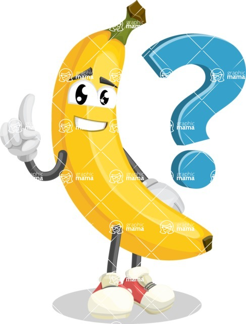 Cute Banana Cartoon Vector Character AKA Banana Peelstrong - with Question mark