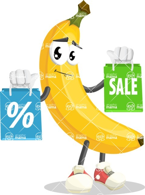 Cute Banana Cartoon Vector Character AKA Banana Peelstrong - With Shopping Bags