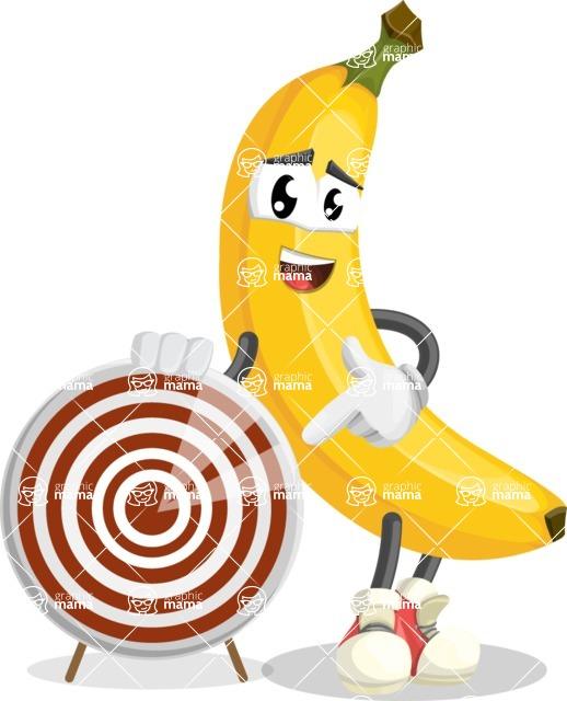 Cute Banana Cartoon Vector Character AKA Banana Peelstrong - With Target