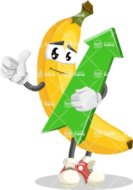 Cute Banana Cartoon Vector Character AKA Banana Peelstrong - with Up arrow