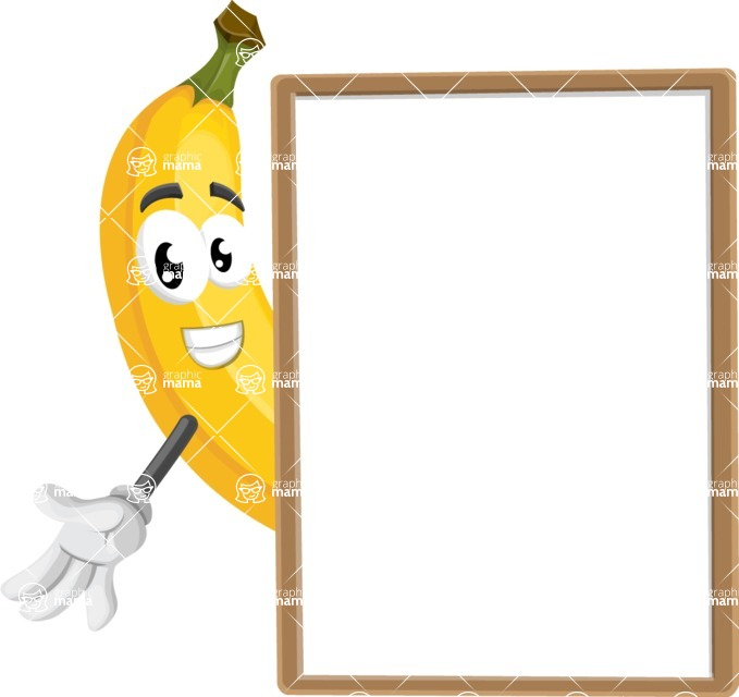 Cute Banana Cartoon Vector Character AKA Banana Peelstrong - With Whiteboard and Smiling
