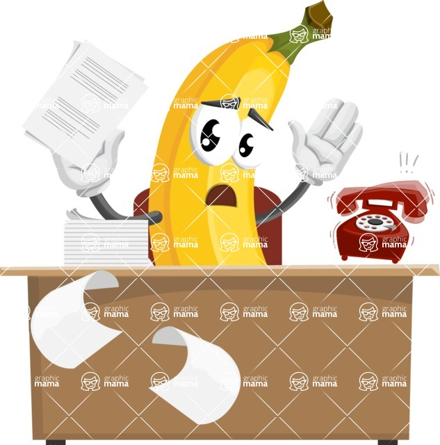 Cute Banana Cartoon Vector Character AKA Banana Peelstrong - Working On Desk and Stressed from Work