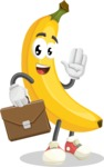 Cute Banana Cartoon Vector Character AKA Banana Peelstrong - Being Businessman with Briefcase