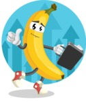 Cute Banana Cartoon Vector Character AKA Banana Peelstrong - Businessman with Cool Background
