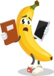 Cute Banana Cartoon Vector Character AKA Banana Peelstrong - Choosing between Book and Tablet