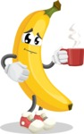 Cute Banana Cartoon Vector Character AKA Banana Peelstrong - Drinking Cup of Coffee