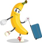 Cute Banana Cartoon Vector Character AKA Banana Peelstrong - Going to vacation with a Suitcase