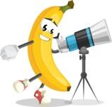 Cute Banana Cartoon Vector Character AKA Banana Peelstrong - Looking through telescope