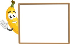 Cute Banana Cartoon Vector Character AKA Banana Peelstrong - Presenting on Blank Whiteboard Template