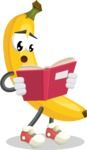 Cute Banana Cartoon Vector Character AKA Banana Peelstrong - Reading a Book