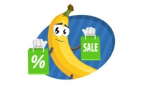 Cute Banana Cartoon Vector Character AKA Banana Peelstrong - Sale Illustration with Flat Modern Background