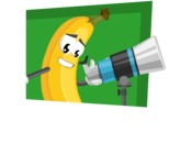 Cute Banana Cartoon Vector Character AKA Banana Peelstrong - With Simple Style Background