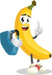 Cute Banana Cartoon Vector Character AKA Banana Peelstrong - Traveling with Suitcase