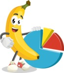 Cute Banana Cartoon Vector Character AKA Banana Peelstrong - With a Business Pie Chart