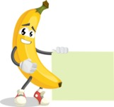 Cute Banana Cartoon Vector Character AKA Banana Peelstrong - With Blank Sign Template
