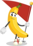Cute Banana Cartoon Vector Character AKA Banana Peelstrong - with Flag
