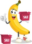 Cute Banana Cartoon Vector Character AKA Banana Peelstrong - With Sale Boxes