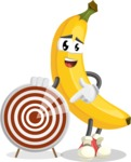 Cute Banana Cartoon Vector Character AKA Banana Peelstrong - With Target