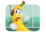 Cute Banana Cartoon Vector Character AKA Banana Peelstrong - Working in Office Illustration Concept
