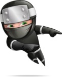 Funny Ninja Cartoon Vector Character AKA Hibiki the Flying Ninja - Point 2