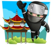 Funny Ninja Cartoon Vector Character AKA Hibiki the Flying Ninja - Shape 4