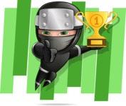 Funny Ninja Cartoon Vector Character AKA Hibiki the Flying Ninja - Shape 5