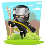 Funny Ninja Cartoon Vector Character AKA Hibiki the Flying Ninja - Shape 6