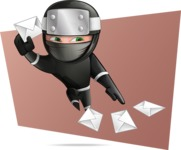 Funny Ninja Cartoon Vector Character AKA Hibiki the Flying Ninja - Shape 8
