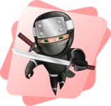 Funny Ninja Cartoon Vector Character AKA Hibiki the Flying Ninja - Shape 9