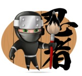 Funny Ninja Cartoon Vector Character AKA Hibiki the Flying Ninja - Shape 11