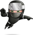 Funny Ninja Cartoon Vector Character AKA Hibiki the Flying Ninja - Direct Attention 2
