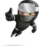 Funny Ninja Cartoon Vector Character AKA Hibiki the Flying Ninja - Attention