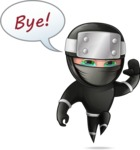 Funny Ninja Cartoon Vector Character AKA Hibiki the Flying Ninja - GoodBye