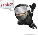 Funny Ninja Cartoon Vector Character AKA Hibiki the Flying Ninja - Hello