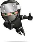 Funny Ninja Cartoon Vector Character AKA Hibiki the Flying Ninja - Excited