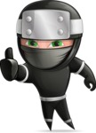 Funny Ninja Cartoon Vector Character AKA Hibiki the Flying Ninja - Thumbs-Up