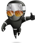Funny Ninja Cartoon Vector Character AKA Hibiki the Flying Ninja - Sunglasses 1