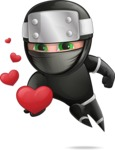 Funny Ninja Cartoon Vector Character AKA Hibiki the Flying Ninja - Show Love